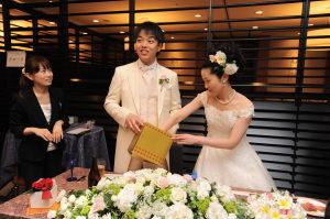 結婚式二次会のゲームでくじを引く新郎新婦