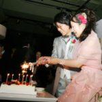 ケーキの上の花火に点火する新郎新婦
