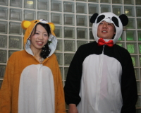 クマとパンダの着ぐるみを着る新郎新婦